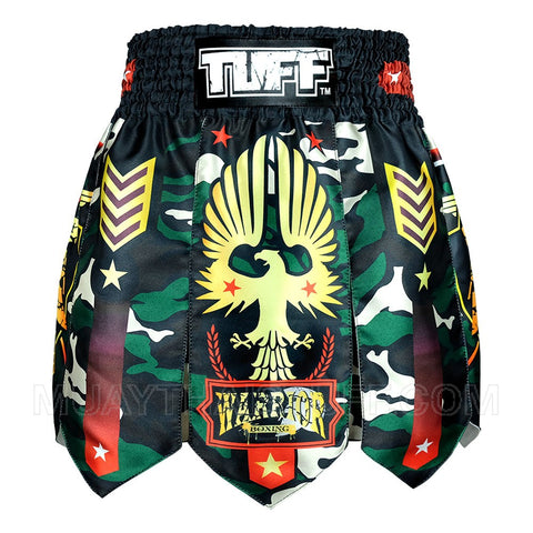 TUFF Muay Thai Boxing Shorts Gladiator Green Military Warrior