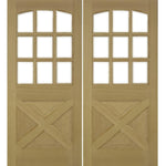 Krosswood Crossbuck Panel Arched 9-Lite Douglas Fir Double Door with Beveled Glass | UberDoors