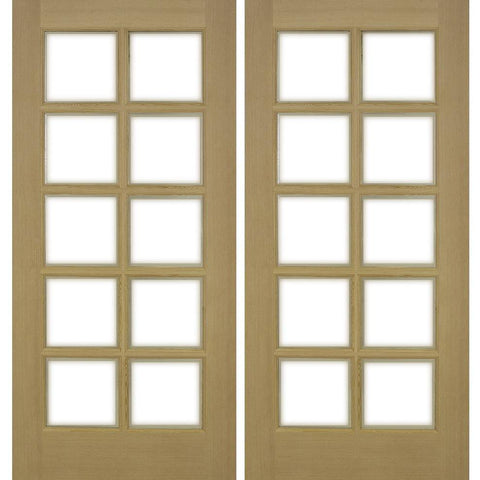 Krosswood 10-Lite Beveled Glass Douglas Fir Double French Door | UberDoors