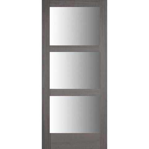 Krosswood Modern 3 Lite Douglas Fir Door with Satin Etched Glass | UberDoors