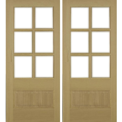 Krosswood 3/4 Lite Beveled Glass Douglas Fir Double Door | UberDoors