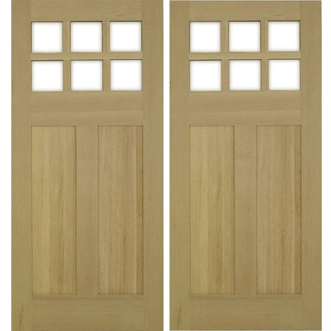 Krosswood Craftsman 6-Lite Beveled Glass Douglas Fir Double Door | UberDoors