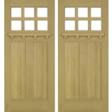 Krosswood Craftsman 6-Lite Beveled Glass with Dentil Shelf Douglas Fir Double Door | UberDoors