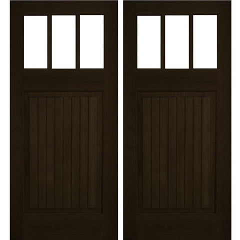 Krosswood Raised V-Groove 3-Lite Beveled Glass Douglas Fir Double Door | UberDoors