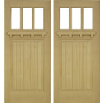 Krosswood Raised V-Groove 3-Lite Beveled Glass Douglas Fir Double Door with Dentil Shelf | UberDoors