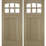 Krosswood Raised V-Groove Panel Arched 6-Lite Douglas Fir Double Door | UberDoors