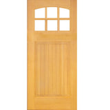 Krosswood Raised V-Groove Panel Arched 6-Lite Douglas Fir Door with Beveled Glass | UberDoors