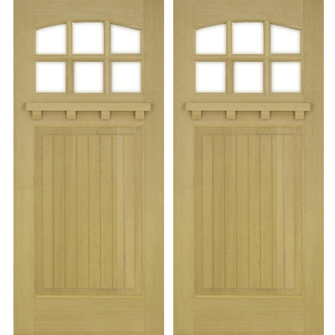 Krosswood Raised V-Groove Panel Arched 6-Lite Beveled Glass Douglas Fir Double Door with Dentil Shelf | UberDoors