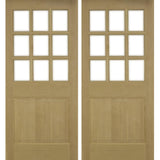 Krosswood Raised Panel 9-Lite Beveled Glass Douglas Fir Double Door | UberDoors