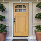 Douglas Fir Craftsman Exterior Door with Arch-Top Window