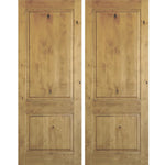 Krosswood Knotty Alder 2 Panel Square Top Double Doors | UberDoors