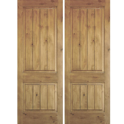 Krosswood Knotty Alder 2 Panel Square Top Double Doors with V-Grooves | UberDoors