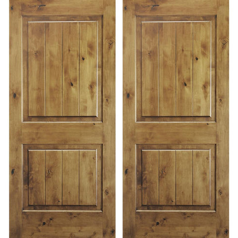 Krosswood Knotty Alder 2 Panel Square Top Double Doors with V-Groove | UberDoors