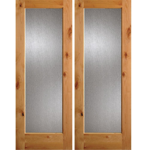 Krosswood Knotty Alder Full Lite Rain Glass Exterior Double Doors | UberDoors