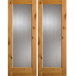 Knotty Alder Full Lite Rain Glass Double Doors