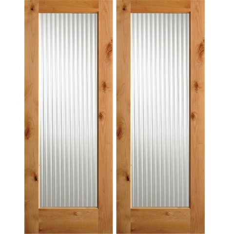 Krosswood Knotty Alder Full Lite Reeded Glass Exterior Double Doors | UberDoors