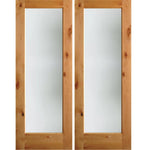 Krosswood Knotty Alder Full Lite Satin Etched Exterior Double Doors | UberDoors