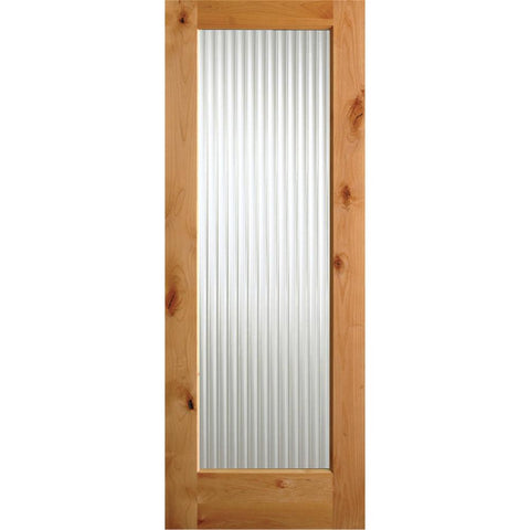 Krosswood Knotty Alder Full Lite Reeded Glass Exterior Door | UberDoors