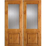 Krosswood Knotty Alder Half Lite Rain Glass Double Doors | UberDoors