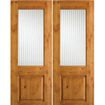 Krosswood Knotty Alder Half Lite Reeded Glass Double Doors | UberDoors