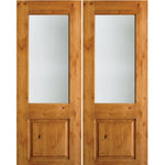 Krosswood Knotty Alder Half Lite Satin Etched Glass Double Doors | UberDoors