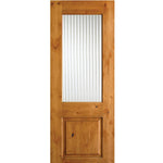 Krosswood Knotty Alder Reeded Glass Half Lite Door | UberDoors