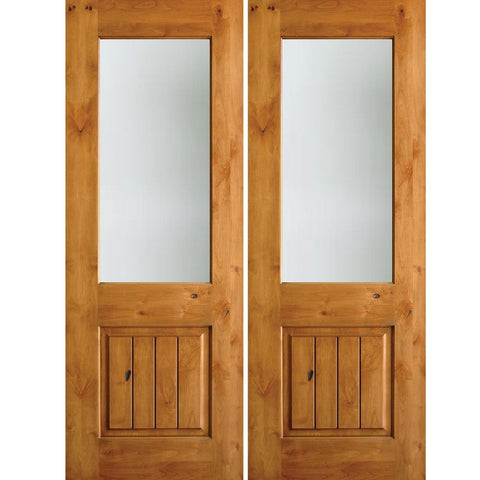 Krosswood Knotty Alder Half Lite Satin Etched Glass Double Doors with V-Grooves | UberDoors