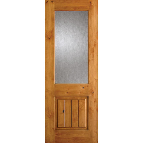 Krosswood Knotty Alder Half Lite Rain Glass Door w/V-Grooves | UberDoors