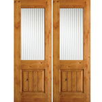 Krosswood Knotty Alder Half Lite Reeded Glass Double Doors with V-Grooves | UberDoors