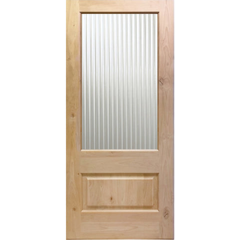Knotty Alder 3/4 Lite Reeded Glass Exterior Door