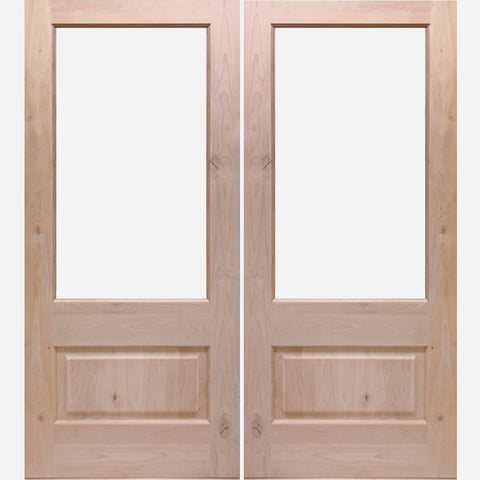 Knotty Alder 3/4 Lite Clear Glass Double Doors