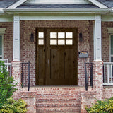 Knotty Alder 6 Lite Craftsman Door with Dentil Shelf and Beveled Glass