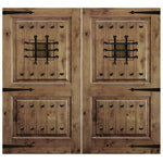 Krosswood Knotty Alder 2 Panel Square Top Double Doors with V-Grooves, Speakeasy, Clavos and Strap Hinges | UberDoors