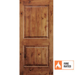 Krosswood Knotty Alder 2 Panel Square Top w/V-Grooves 20 Minute Fire Door | UberDoors
