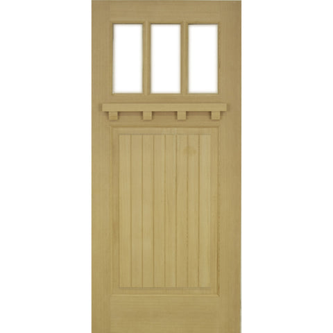 Krosswood Raised V-Groove 3-Lite Douglas Fir Door with Dentil Shelf and Beveled Glass | UberDoors