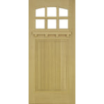 Krosswood Raised V-Groove Panel Arched 6-Lite Douglas Fir Door with Dentil Shelf and Beveled Glass | UberDoors