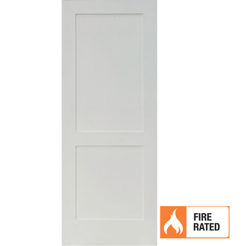 Primed MDF 2 Panel Shaker Fire Door
