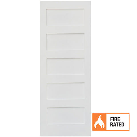 Primed MDF 5 Panel Shaker Fire Door