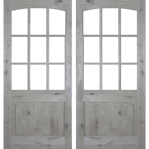 Krosswood Knotty Alder 9 Lite Arch Top Double Door with V-Panel | UberDoors