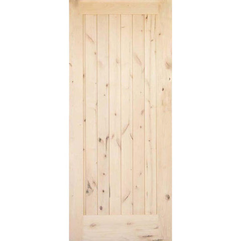 Krosswood Knotty Alder 1 Panel Solid Wood Core Barn Door Slab | UberDoors
