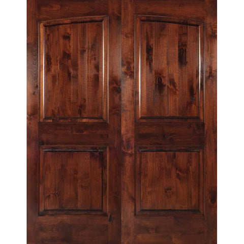 Krosswood Knotty Alder 2-Panel Common Arch Double Doors | UberDoors