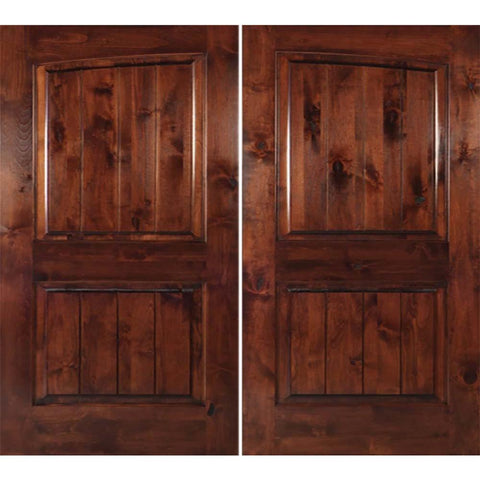 Krosswood Knotty Alder 2 Panel Common Arch with V-Grooves Double Doors | UberDoors