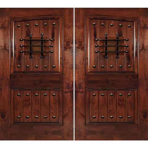 Krosswood Knotty Alder 2 Panel Common Arch with V-Grooves Double Doors, Speakeasy and Clavos | UberDoors