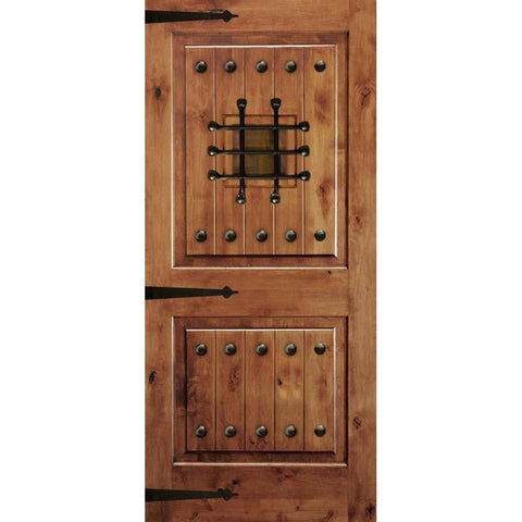 Krosswood Knotty Alder 2 Panel Square Top Door with V-Grooves Door, Speakeasy, Clavos and Strap Hinges | UberDoors
