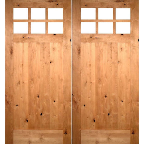 Krosswood Knotty Alder 6-Lite 1 Panel Craftsman w/Clear Beveled Glass Double Doors | UberDoors
