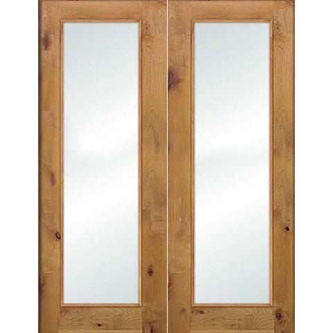 Krosswood Knotty Alder Full Lite Satin Etched Glass Double Doors | UberDoors
