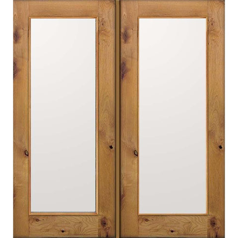 Krosswood Knotty Alder Full Lite Clear Exterior Double Doors | UberDoors