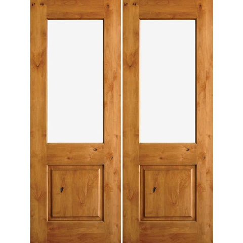 Krosswood Knotty Alder Half Lite Clear Glass Double Doors | UberDoors