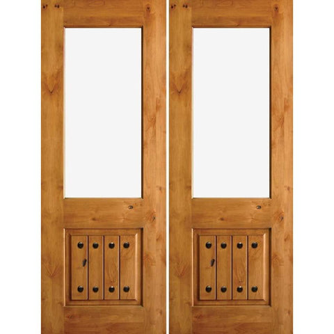 Krosswood Knotty Alder Half Lite Open Rim Double Doors with V-Grooves, Clavos and Strap Hinges | UberDoors