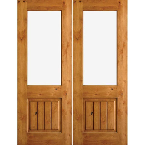 Krosswood Knotty Alder Half Lite Clear Glass Double Doors with V-Grooves | UberDoors